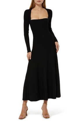 Reneta Compact Knit Square Midi Dress