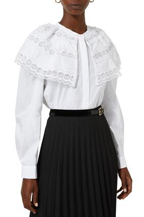 Ruffle Collar Peplum Shirt