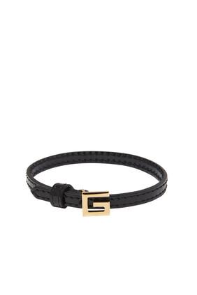 Square G Leather Bracelet