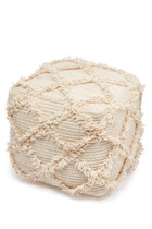 Embroidered Square Pouf