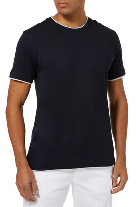 Contrast-Trim Short Sleeve T-Shirt