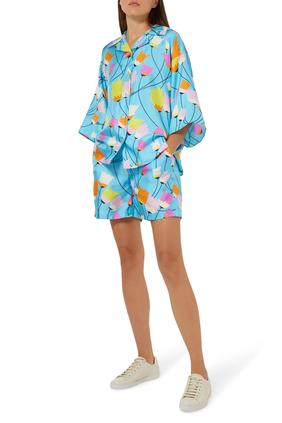 Tulip Print Silk Shorts