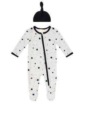 Stars Sleepsuit and Hat Set