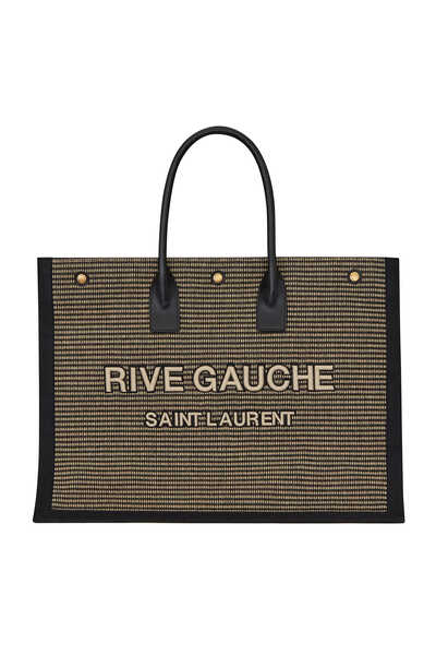 Rive Gauche Tote Bag in Embroidered Cotton and Linen