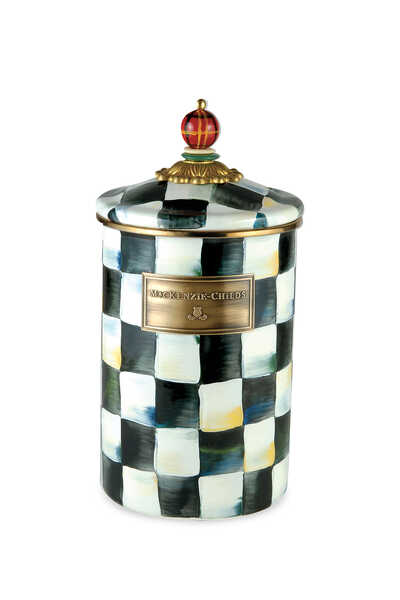 Courtly Check Enamel Canister Large