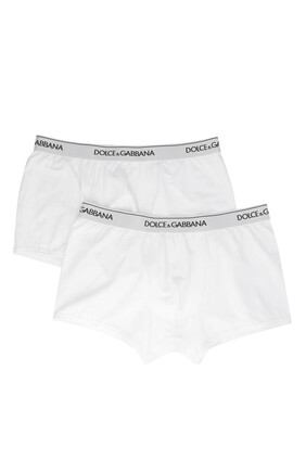 Logo Waistband Cotton Boxers, Pack of Two