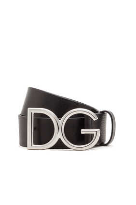 Tumbled Leather Belt With Monogram