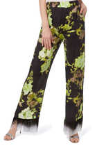 Floral Print Fringed Pants