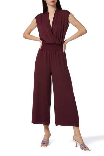 Draped Combo Silk Jumpsuit