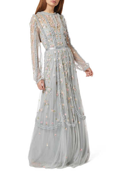 Wallflower Floral Embroidered Gown