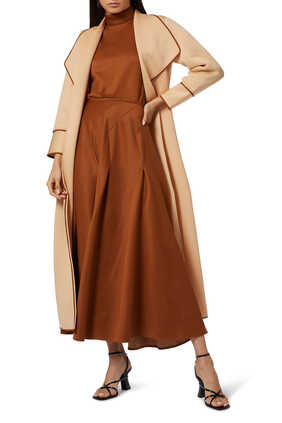 High-Neck Top and Pleated Skirt Set