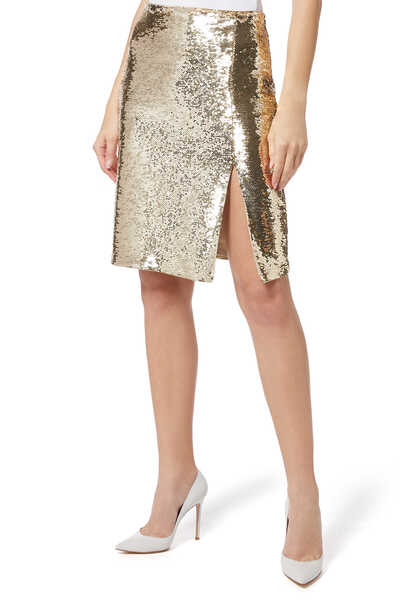 Sequinned Front Slit Skirt