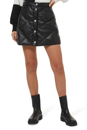 Dice Puff Leather Mini Skirt