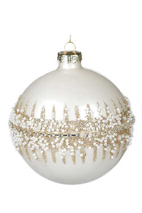 Glitter Bead Ring Ball Ornament