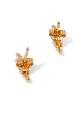 Half Pavé Lightning Earrings