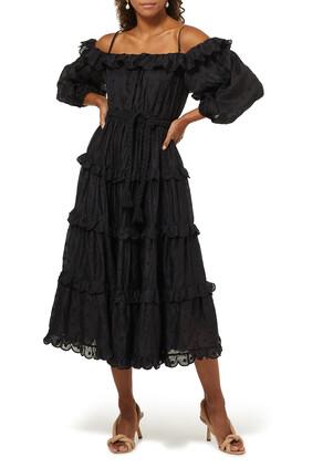 Mae Dot Ramie Midi Dress