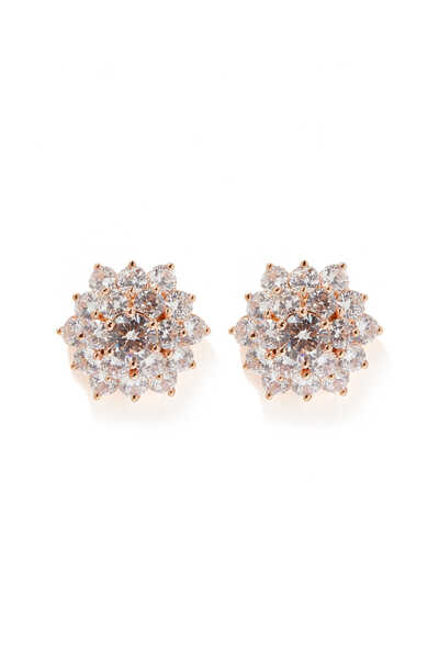 Round Cluster Stud Earrings