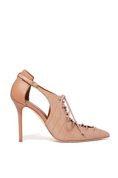 Montanna Croc Embossed Lace-Up Sandals