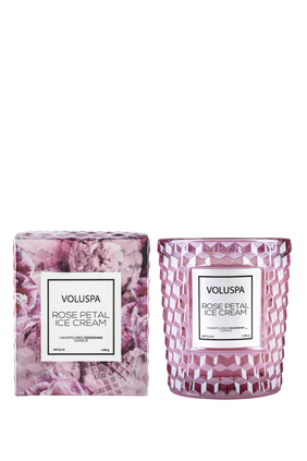 Voluspa Rose Petal IC Candle-Textured Glass 184g