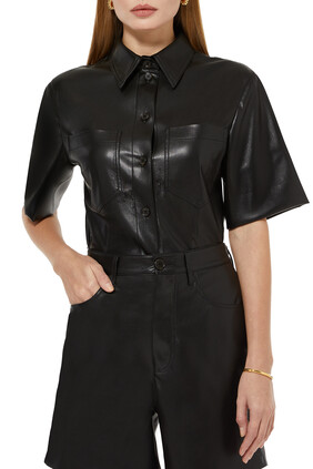 Sabine Vegan Leather Top