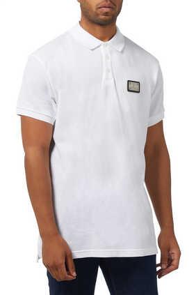 Logo Plaque Pique Polo Shirt