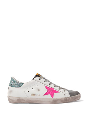 Super-Star Sneakers with Croc-print Star in Leather