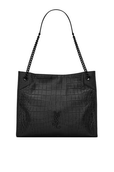 Niki Medium Shopping Bag in Crocodile-Embossed Leather