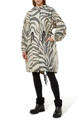 Achird Zebra-print Parka Coat