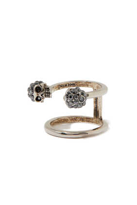 Twin Skull Double Ring