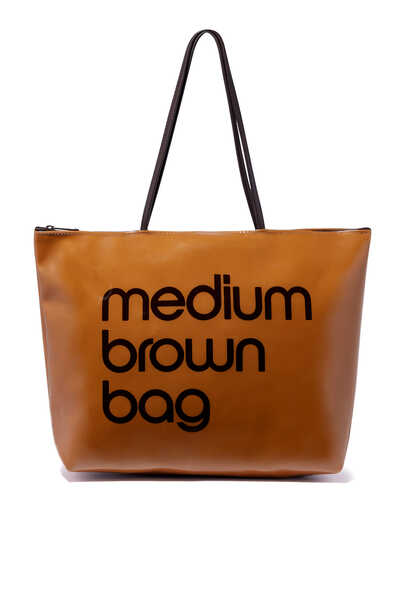 Medium Zip Top Brown Tote Bag