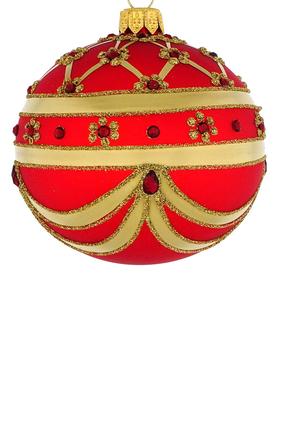 Jeweled Glass Striped Ball Ornament