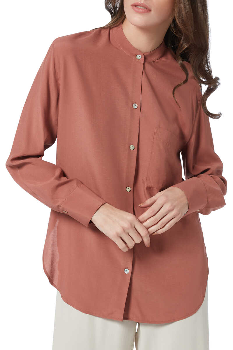 Relaxed Band Collar Shirt image number 1