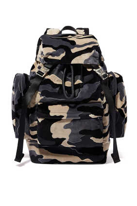 Buckle-Front Camo Velvet Backpack