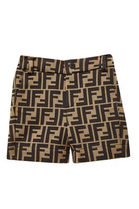 FF Logo Cotton Blend Shorts