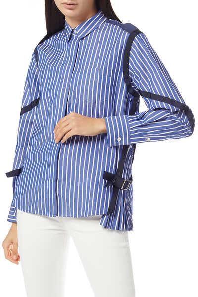 Strap-Embellished Striped Cotton Poplin Shirt