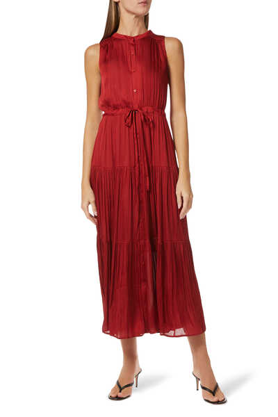 Tiered Soft Satin Maxi Dress