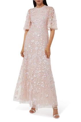 Sequin Embellished Cape Sleeves Gown