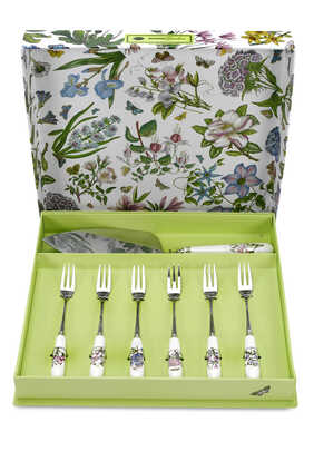 Botanic Garden Cake Server and Pastry Forks Set of 6