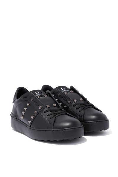 Valentino Garavani Black Rockstud Untitled Sneakers