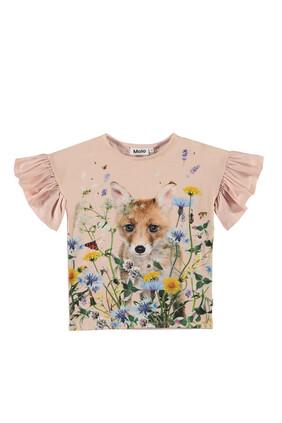 Floral Puppy Print T-Shirt