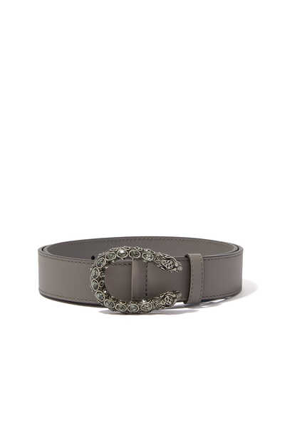 Leather Belt With Crystal Dionysus Buckle