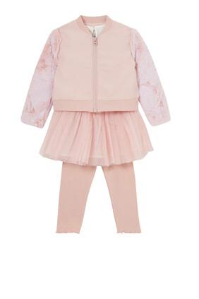 Bomber Jacket, Tutu Dress & Leggings Set