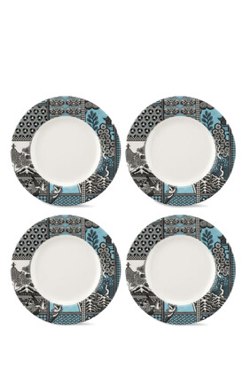 Spode Patchwork Willow Teal Plate, Set of 4