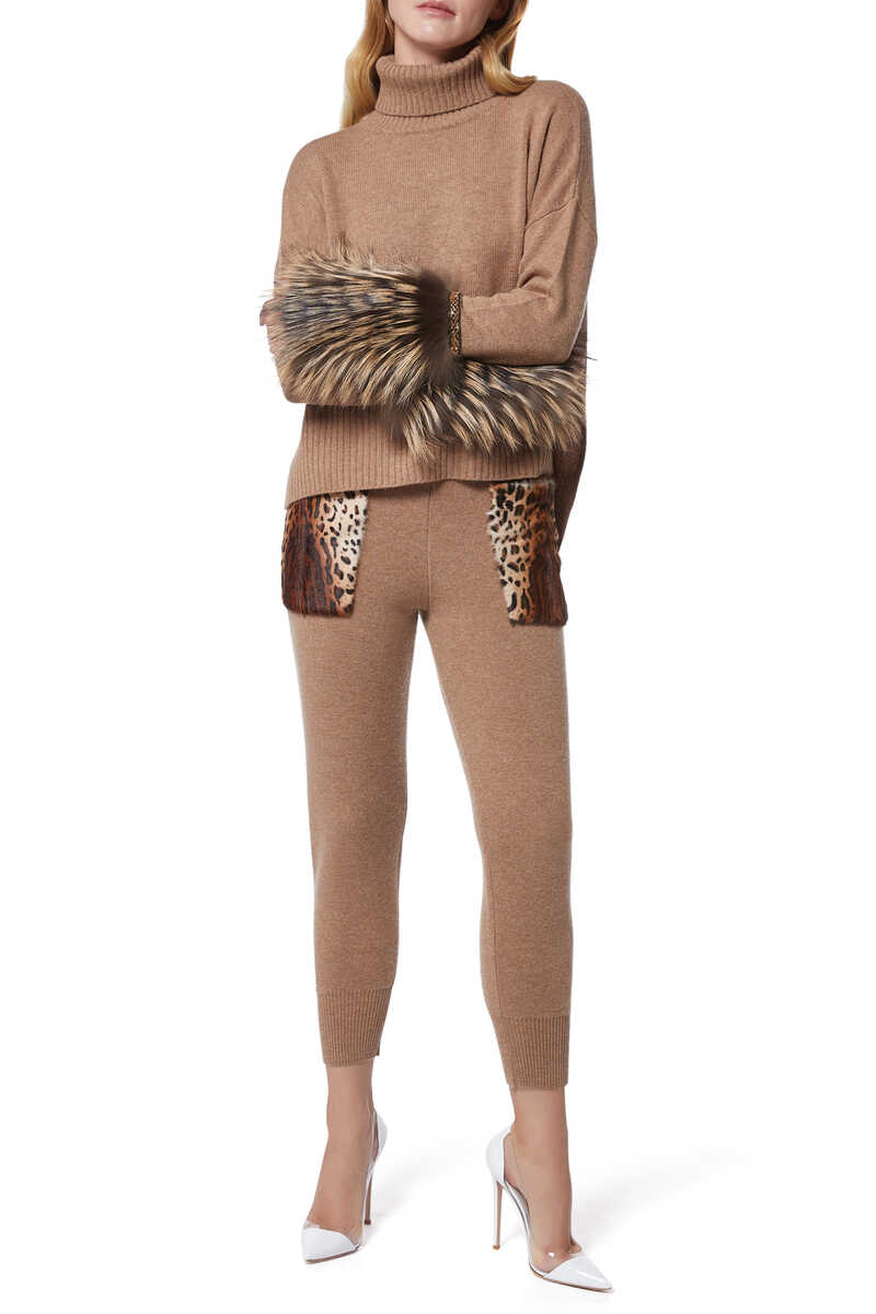 Leopard Patch Knit Pants image number 2