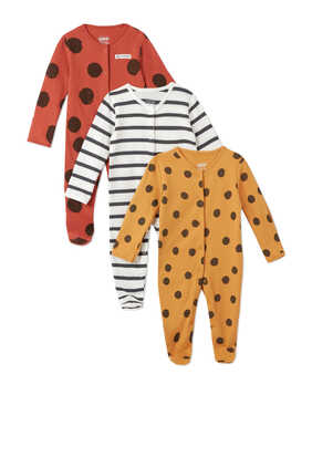 Large Spot Cotton Sleepsuit, Set of Three