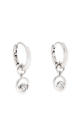 Rock Huggie Charm 1 White Gold Earrings