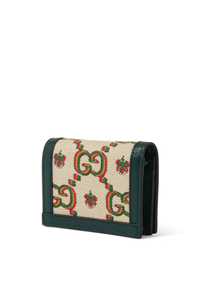 Gucci 100 Card Case Wallet in Beige and Green Jacquard