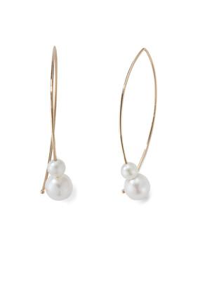 Medium Double Pearl Open Marquis Earrings