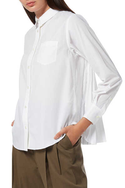 Cotton Poplin Pleated Shirt