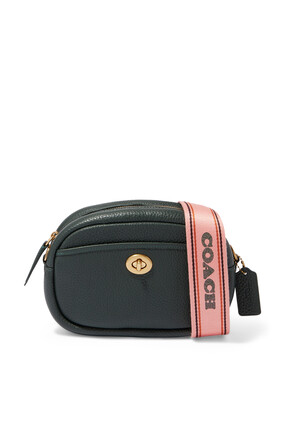 Webbing Strap Camera Bag  in Pebble Leather
